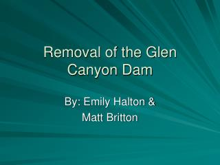 Removal of the Glen  Canyon Dam