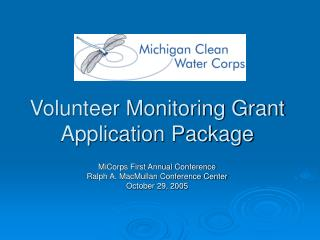 Volunteer Monitoring Grant Application Package