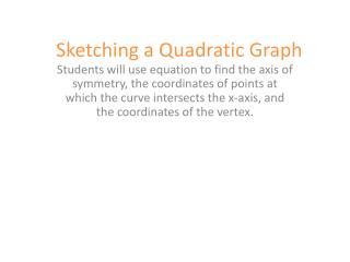 Sketching a Quadratic Graph