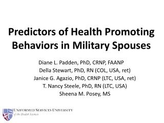 Predictors of Health Promoting Behaviors in Military Spouses