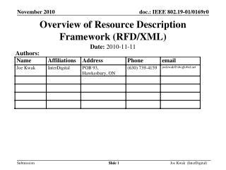 Overview of Resource Description Framework (RFD/XML)