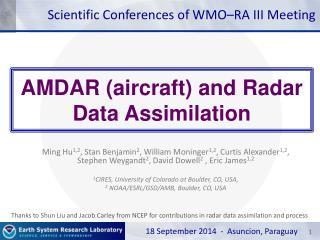 AMDAR (aircraft) and Radar  Data Assimilation