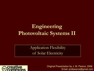 Engineering  Photovoltaic Systems II