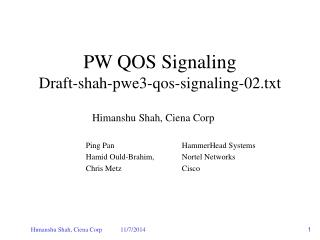 PW QOS Signaling Draft-shah-pwe3-qos-signaling-02.txt