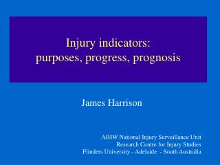 Injury indicators:  purposes, progress, prognosis