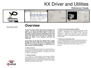 KX Driver and Utilities Reference Guide
