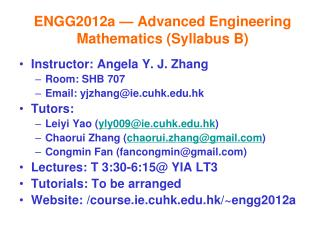 ENGG2012a — Advanced Engineering Mathematics (Syllabus B)