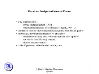 Database Design and Normal Forms