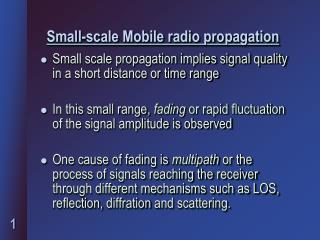 Small-scale Mobile radio propagation