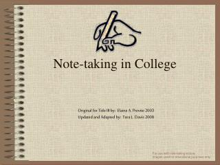 Note-taking in College