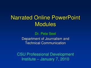 Narrated Online PowerPoint Modules