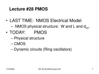Lecture #28 PMOS