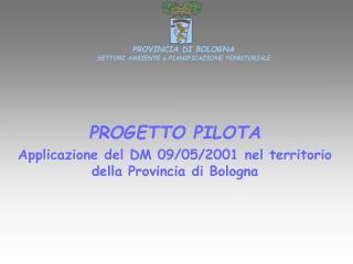 PROGETTO PILOTA Applicazione del DM 09/05/2001 nel territorio della Provincia di Bologna