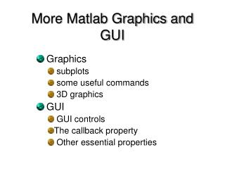 More Matlab Graphics and GUI