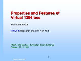 Properties and Features of  Virtual 1394 bus