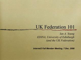 UK Federation 101