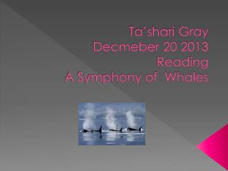 Ta'shari  Gray Decmeber  20 2013 Reading A Symphony of  Whales