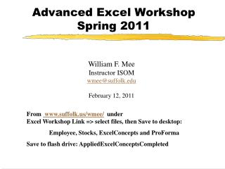 Advanced Excel Workshop   Spring 2011