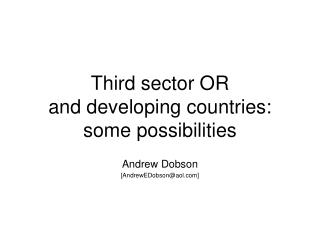Third sector OR  and developing countries: some possibilities