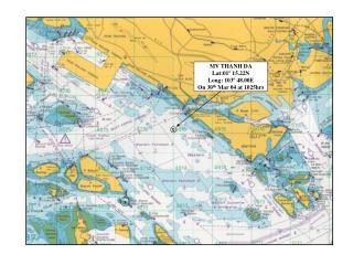 MV THANH DA Lat:01º 15.22N Long: 103º 48.00E On 30 th  Mar 04 at 1025hrs