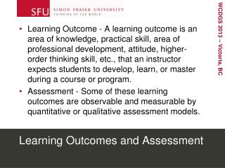 Learning Outcomes and Assessment