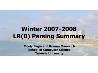 Winter 2007-2008 LR(0) Parsing Summary