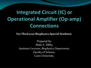 Integrated Circuit (IC) or Operational Amplifier (Op-amp) Connections