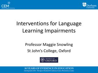 Interventions for Language Learning Impairments