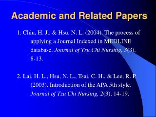 Academic and Related Papers
