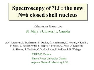 Spectroscopy of  9 Li : the new N=6 closed shell nucleus