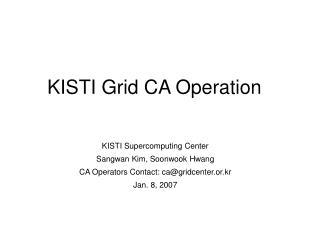 KISTI Grid CA Operation