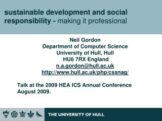 sustainable development and social responsibility -  making it professional