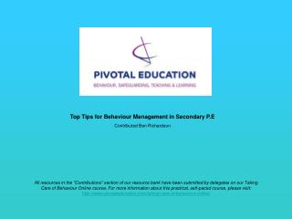 Top Tips for Behaviour Management in Secondary P.E Contributed  Ben Richardson