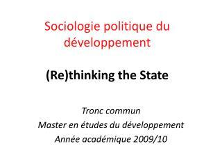 Tronc commun Master en études du développement Année académique 2009/10