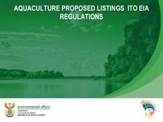 AQUACULTURE PROPOSED LISTINGS  ITO EIA REGULATIONS