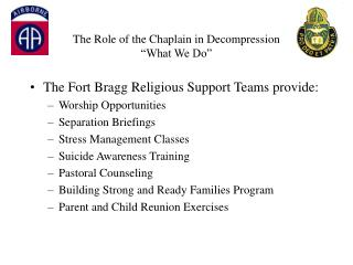 "The Role of the Chaplain in Decompression ""What We Do"""