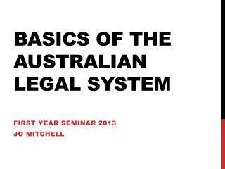 Basics of the  australian  legal system