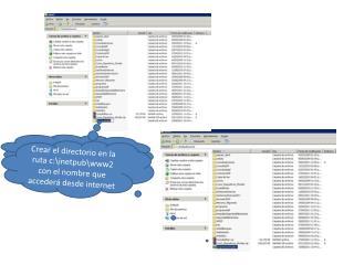 Crear el directorio en la ruta c:\inetpub\www2 con el nombre que accederá desde internet