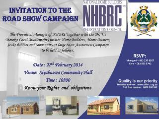 Invitation to the Road Show Campaign