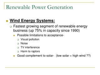Renewable Power Generation