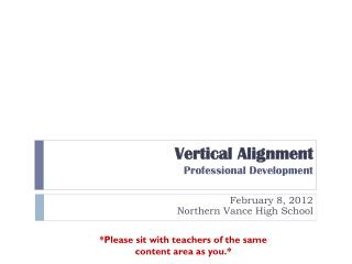 Vertical Alignment Professional Development