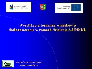 Weryfikacja formalna wniosków o dofinansowanie w ramach działania 6.3 PO KL