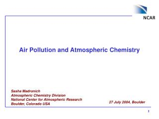 Air Pollution and Atmospheric Chemistry