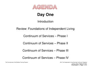 Day One Introduction Review: Foundations of Independent Living Continuum of Services – Phase I