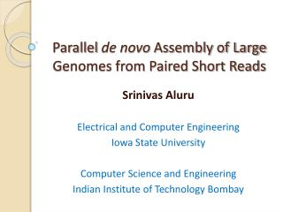 Parallel de novo Assembly of Large Genomes from Paired Short Reads
