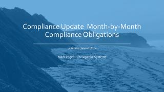 Compliance Update  Month-by-Month Compliance  Obligations