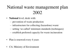 National waste management plan 2002