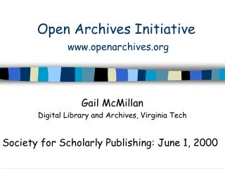 Open Archives Initiative openarchives