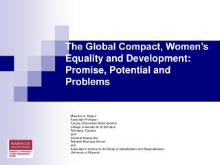 The Global Compact, Women�s Equality and Development: Promise, Potential and Problems
