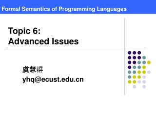 Formal  Semantics  of  Programming Language s